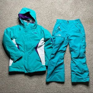 The north face girls snow suit green m 10 12